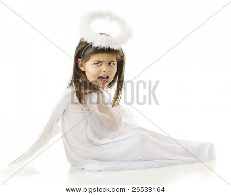 An preschool-aged angel with attitude.  On a white background.