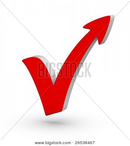 Red check mark with arrow on white background
