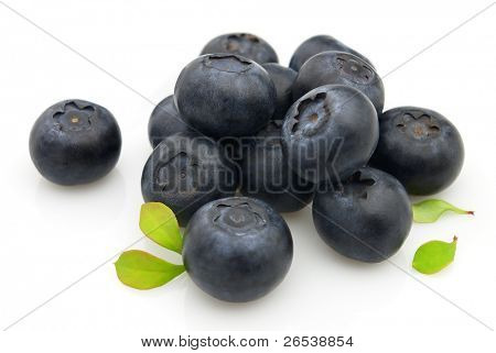 Fresh blueberry with leaves. Use it for a health and nutrition concept.
