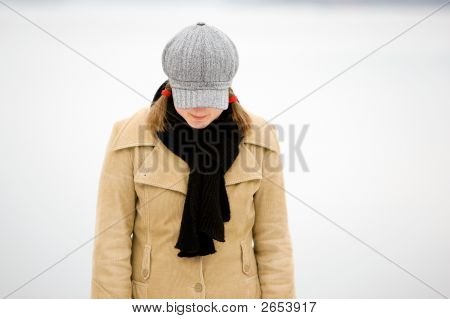 Shy Winter Woman