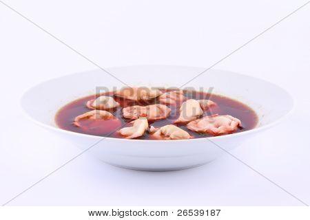 Borscht with dumplings