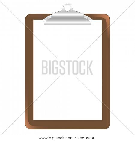 Wood Clipboard Base With Metal Ball Dog Clip And White Blank Paper,  Isolated On White Background, Vector Illustration