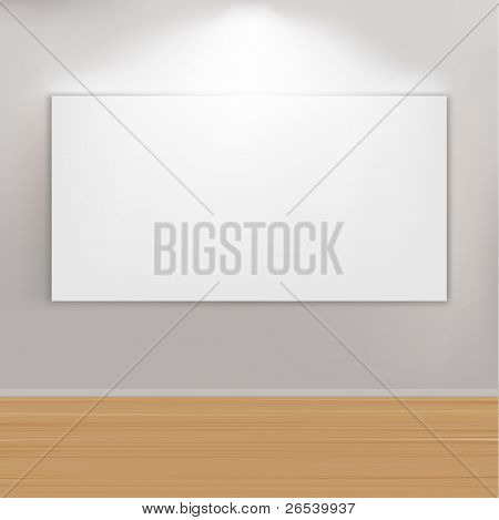Empty Paintings Frame On Wall, Vector Illustration