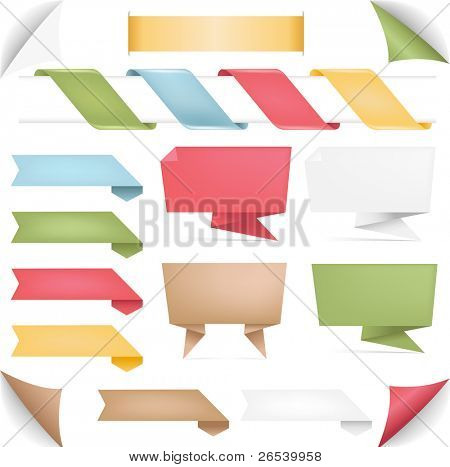 Sammlung von Banner des Origami und Bänder, isolated on white Background, Vector illustration