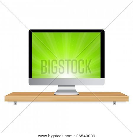 Monitor Icon Wooden Shelf, Isolated On White Background, Vector Illustration
