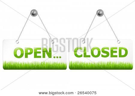 2 Glossy Open And Closed Door Signs Board, Isolated On White Background, Vector Illustration