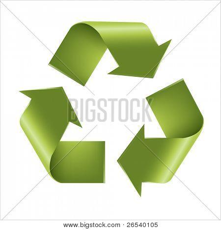 Reciclar símbolo, aislado sobre fondo blanco, ilustración vectorial