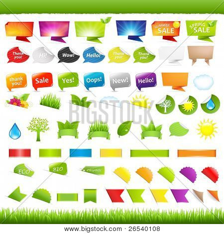 Big Set Natur Symbole, Aufkleber und Bänder, isolated on white Background, Vector illustration