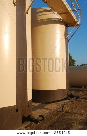Tan-Brown Storage Tanks