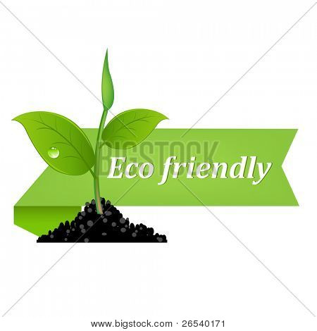 Eco Friendly Banner, Isolated On White Background
