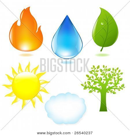 Nature Set, Isolated On White Background, Vector Illustration