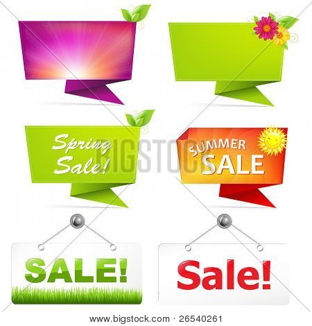 Sale Origami Banners, Vector Illustration