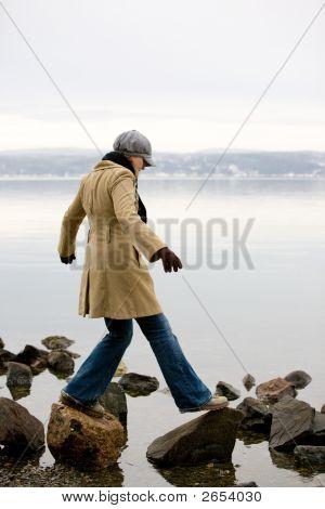 Woman By Ocean