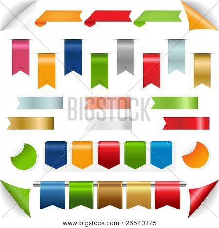 Ribbons collection, Isolated On White Background, Vector Illustration