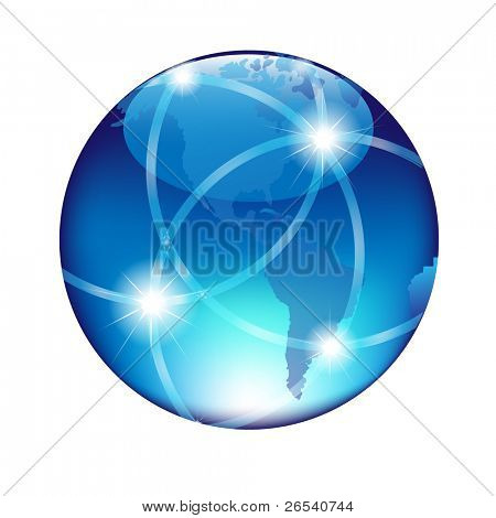 Abstract Blue Globe, Isolated On White Background, Vector Illustration