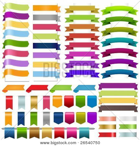 Ribbons Big Set, Isolated On White Background, Vector Illustration