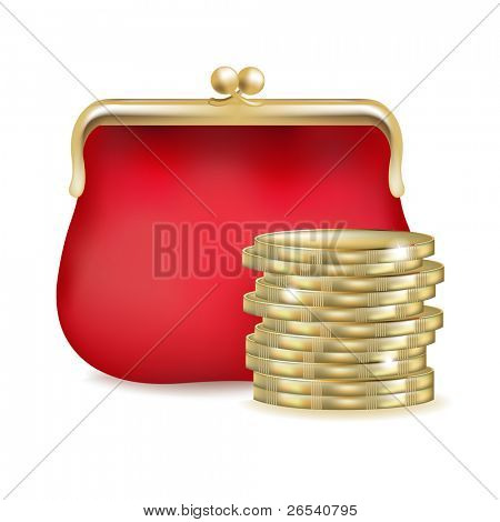 Red Purse And Money, Isolated On White Background