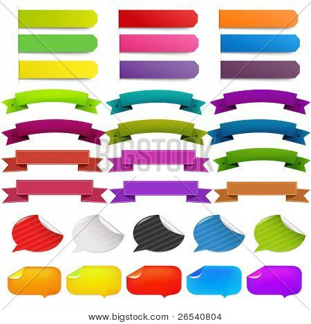 Big Set Stickers And Ribbons, Isolated On White Background, Vector Illustration