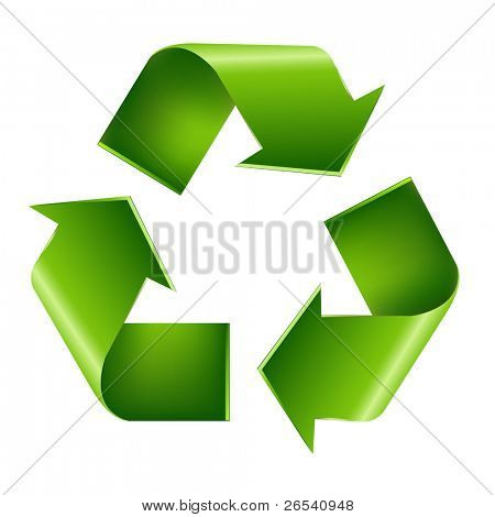 Recycle Symbol, Isolated On White Background, Vector Illustration