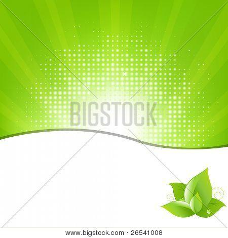 Fundo verde com vigas e folhas, ilustração vetorial