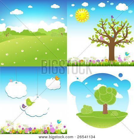 4 Set Cartoon Landscape, Vector Illustration
