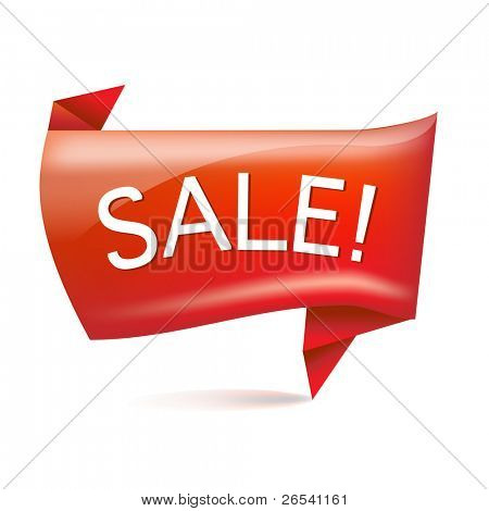 Sale Origami, Isolated On White Background, Vector Illustration
