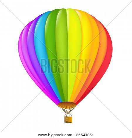 Colorful Hot Air Balloon, Isolated On White Background
