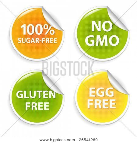 Healthy Food Symbols, Isolated On White Background