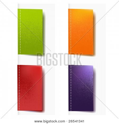 4 Color Labels Fabric, Isolated On White Background