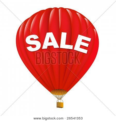 Red Sale Hot Air Balloons, Isolated On White Background, Vector Illustration