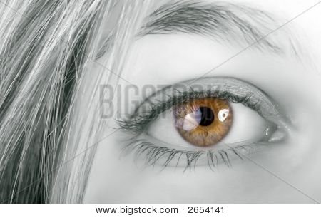 Blond Woman Yellow Eye
