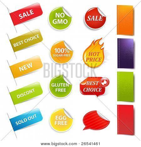 Etiquetas de venda e rótulos, isolados no fundo branco, Vector Illustration