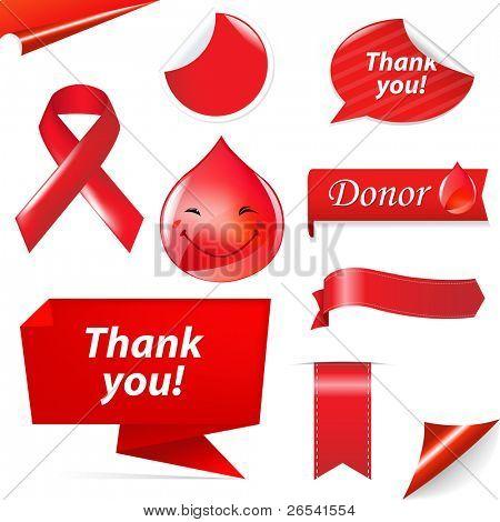 Blood Donation Set, Isolated On White Background