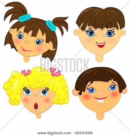 kid faces vector set.isolated characters illustration