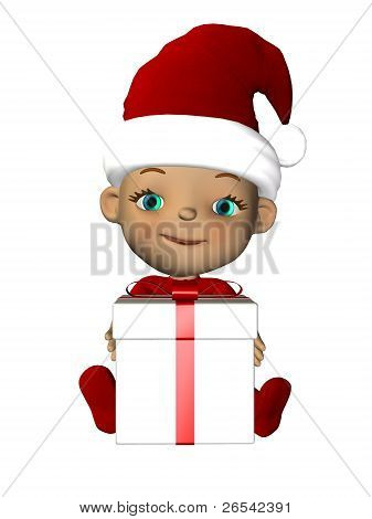 Christmas Baby With Gift Sitting