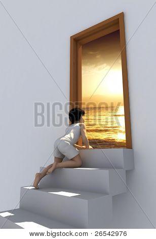 O menino na escada perto da porta.