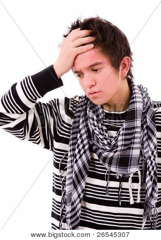 portrait of a young man that has an intense headache, isolated on white