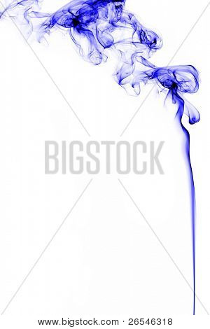 Blue smoke on white background, studio shot