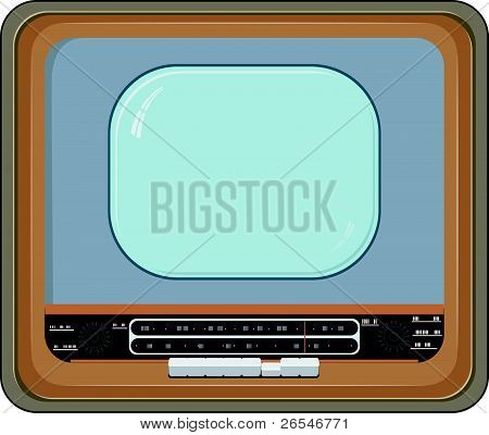 Vector Illustration Of An Old Tv Set With Wooden Case