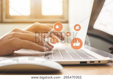 Hand Of Businessman Using Laptop