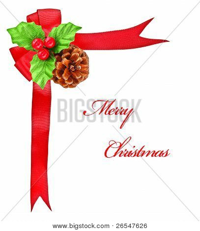 Holly Berry And Red Bow Ribbon, Christmas Decoration Border