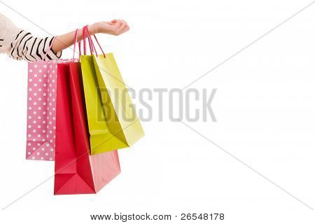 weibliche Hand halten colorful Shopping bags
