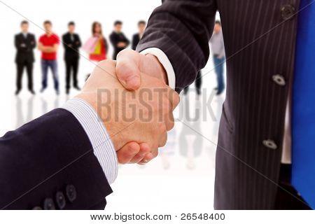 apretón de manos de socio de negocios después del acuerdo