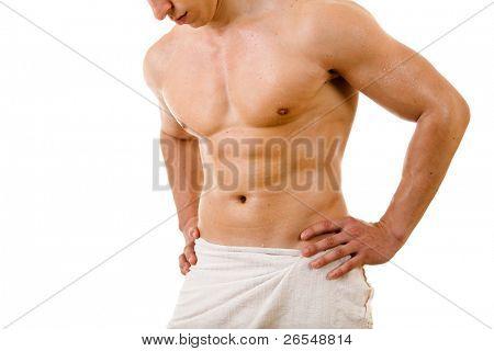 Beautiful muscular man after bath.