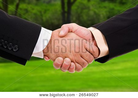 Global warming handshake - Conceptual image