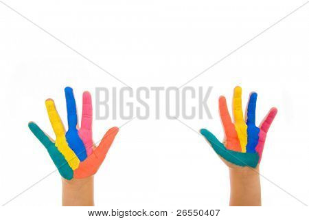 Hand Painted Child. Isolated on white background
