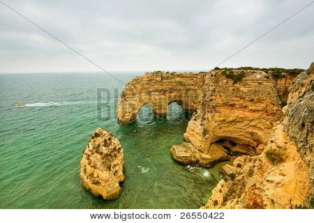 Cliffs at praia da Marinha in Algarve, south of Portugal