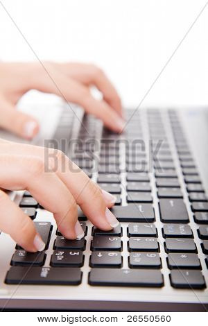 Close-up of secretary?s hand touching computer keys during work