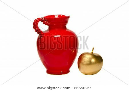 Red Jug And Golden Painted Apple