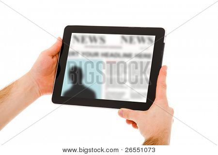 Image of man hands holding a touchpad computer and reading the news. Isolated on white.
